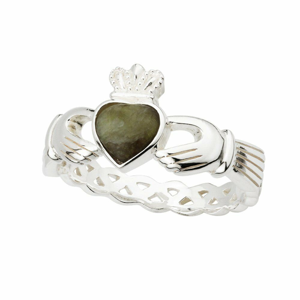 ladies sterling silver connemara marble claddagh ring. Black Bedroom Furniture Sets. Home Design Ideas