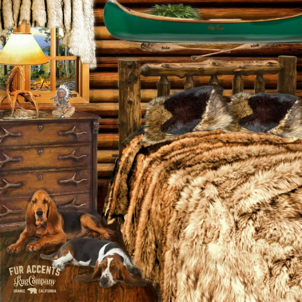 fur accents coyote wolf bedspread plush faux fur throw blanket all sizes ebay. Black Bedroom Furniture Sets. Home Design Ideas