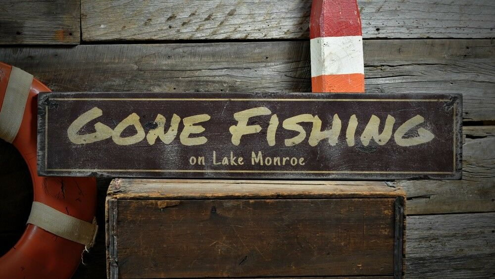 Custom Lake House Gone Fishing Sign - Rustic Hand Made ...