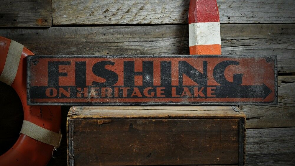 Custom Lake House Fishing Arrow Sign -Rustic Hand Made ...
