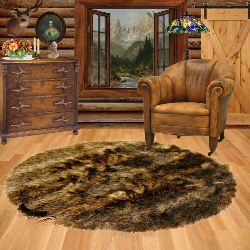 fur accents brown deer faux fur rug bear wolf