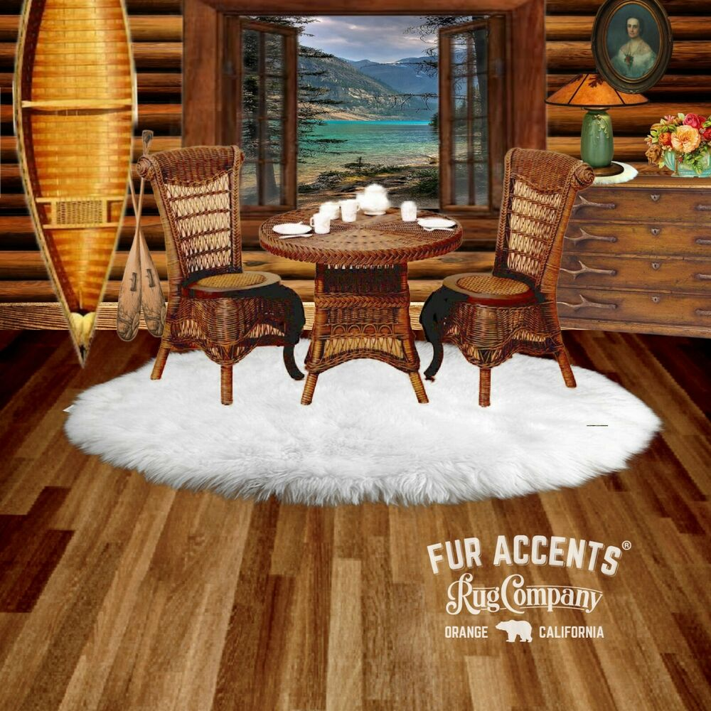 FUR ACCENTS Classic Round Faux Fur Rug Bear Skin Accent