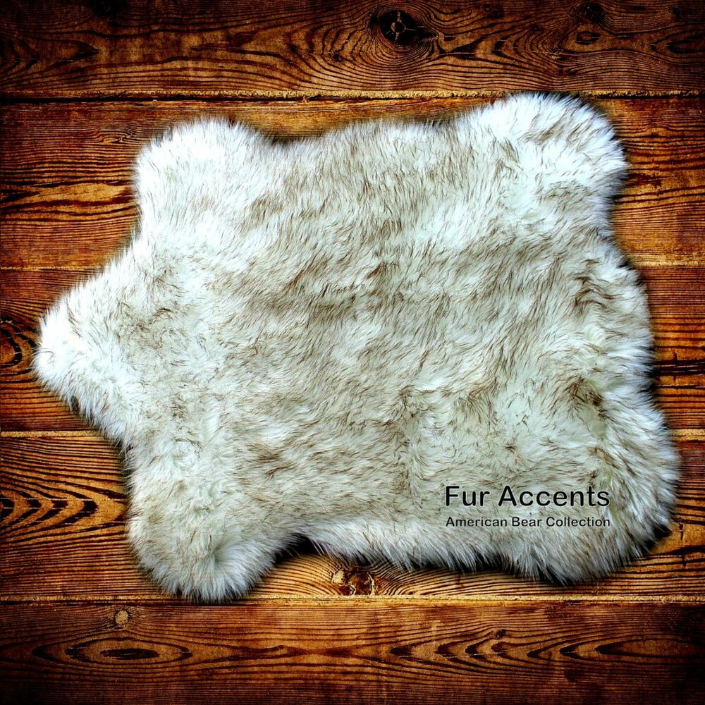 classic bear skin rug faux fur white polar bear arctic wof fur accents ebay. Black Bedroom Furniture Sets. Home Design Ideas