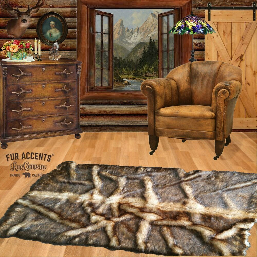 Fur Accents Exclusive Faux Fur Bear Skin Root Rug Area