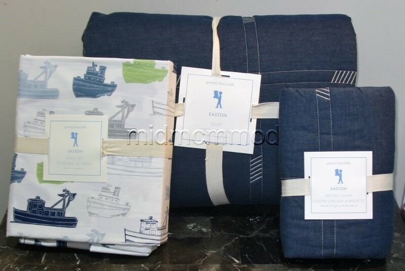 New Pottery Barn Kids Easton Twin Quilt Sham Tugboat