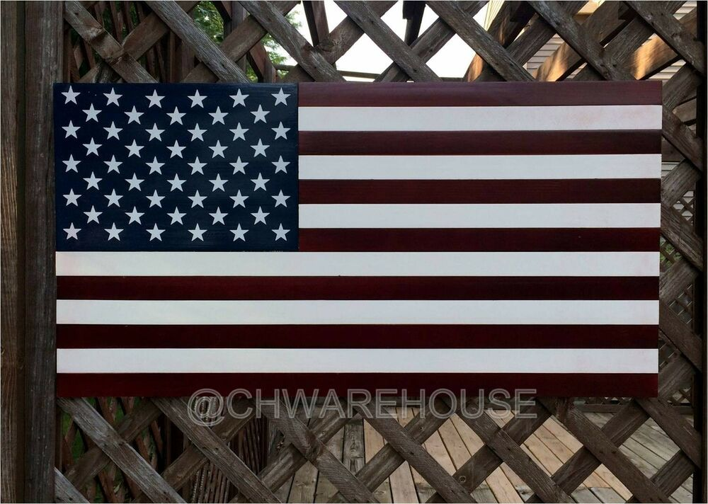 Wood American Flag 36 X 19 Handcrafted Patriotic Wall