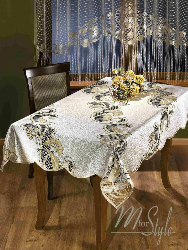 Tablecloth Natural Golden Beige Heavy Lace Rectangular