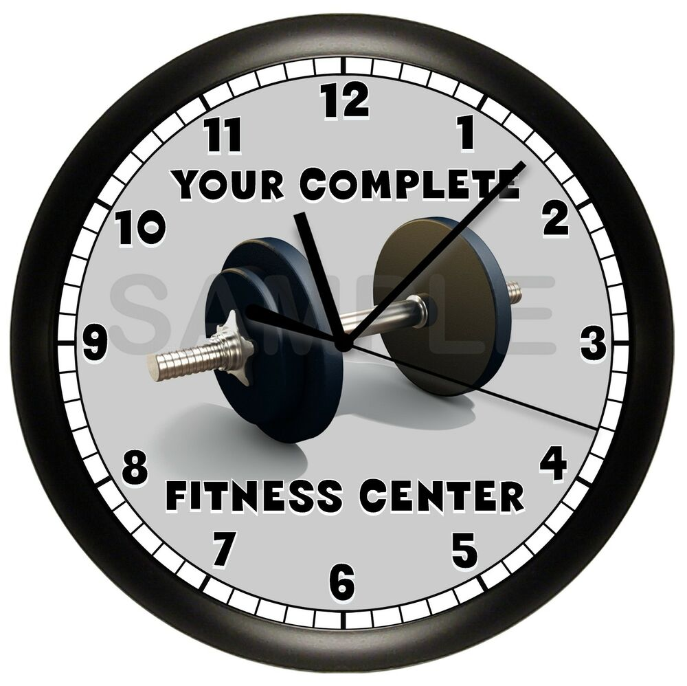 dumbbell fitness wall clock decor gym workout exercise