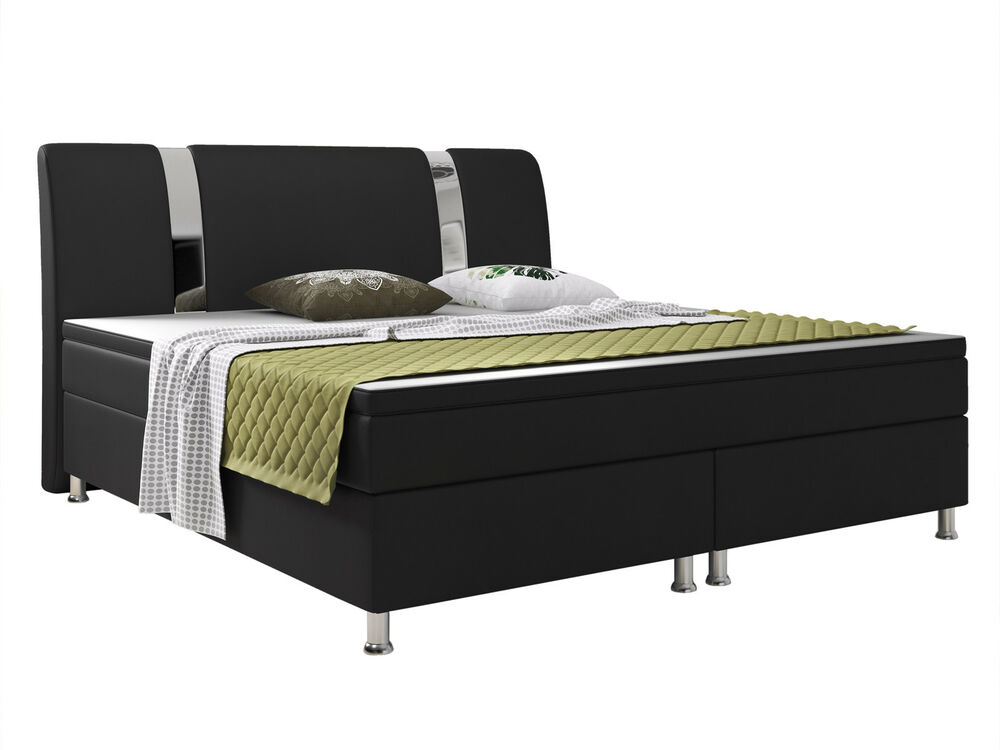 boxspringbett riva bett hotelbett designerbett 180x200 cm kunstleder schwarz ebay. Black Bedroom Furniture Sets. Home Design Ideas
