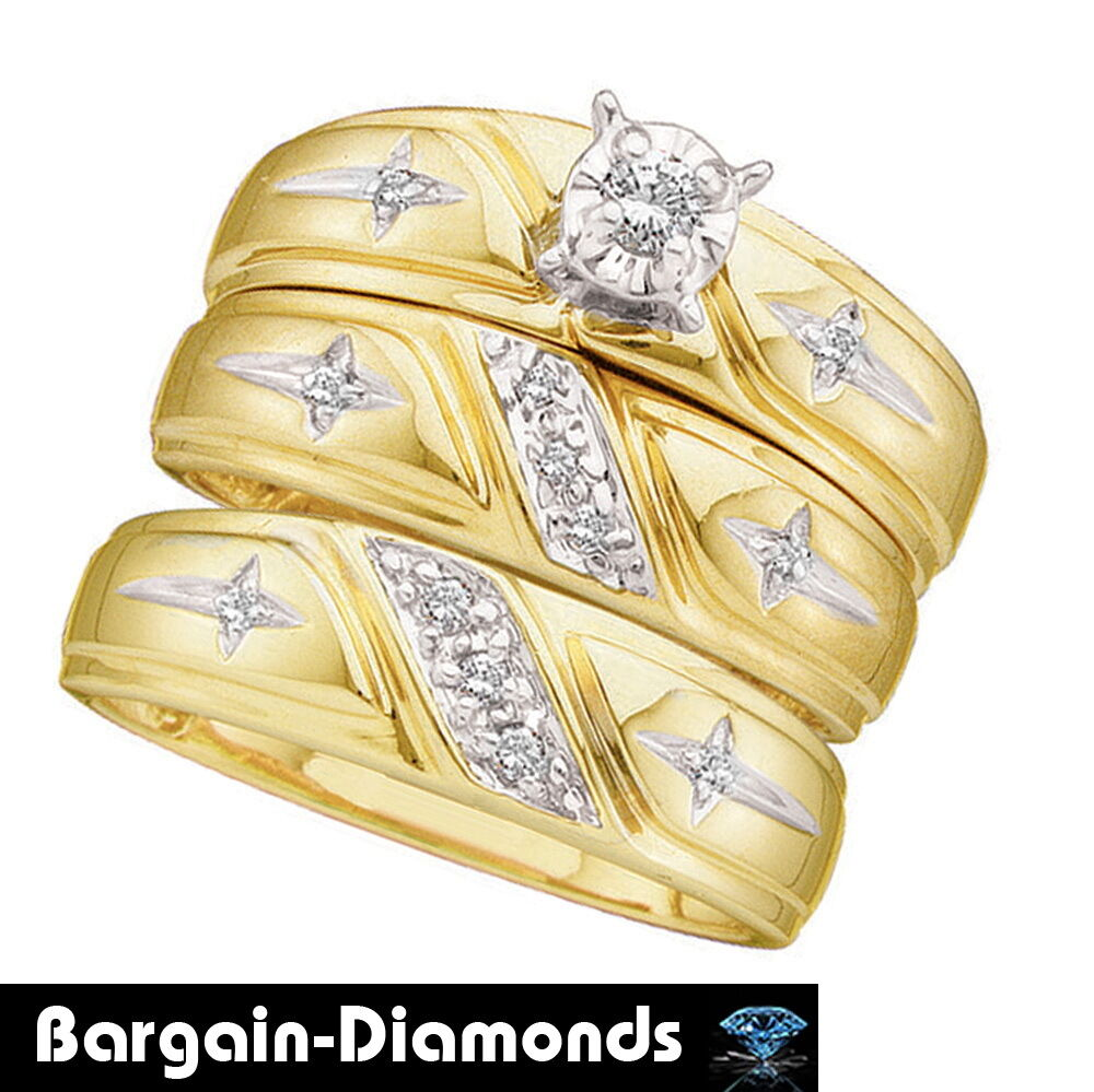 Diamond 20 carat cross 3 ring 10k gold bridal groom for Wedding ring christian