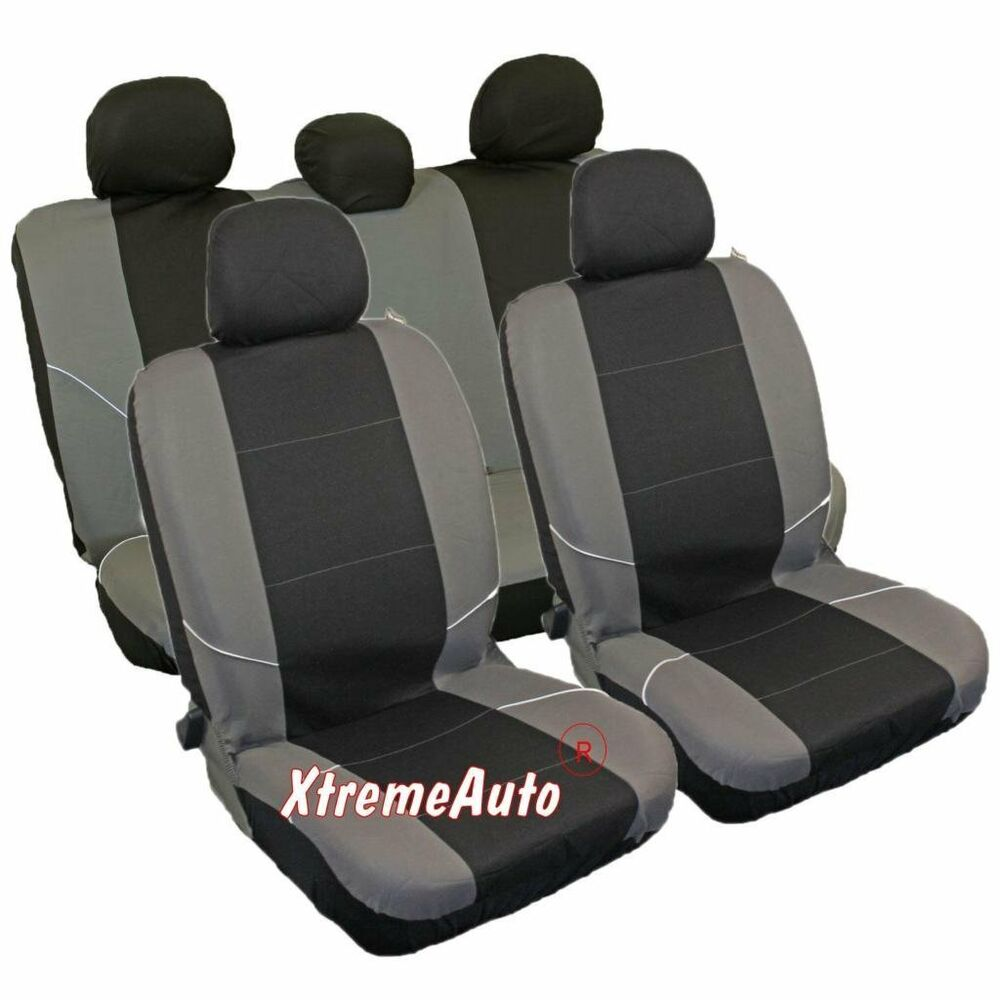 universal car seat cover set 8 pieces black grey washable airbag compatible ebay. Black Bedroom Furniture Sets. Home Design Ideas