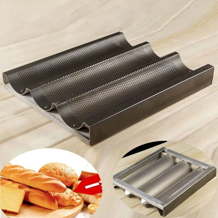 3 Slot Non Stick French Bread Baguette Pan Tin Alloy Tray