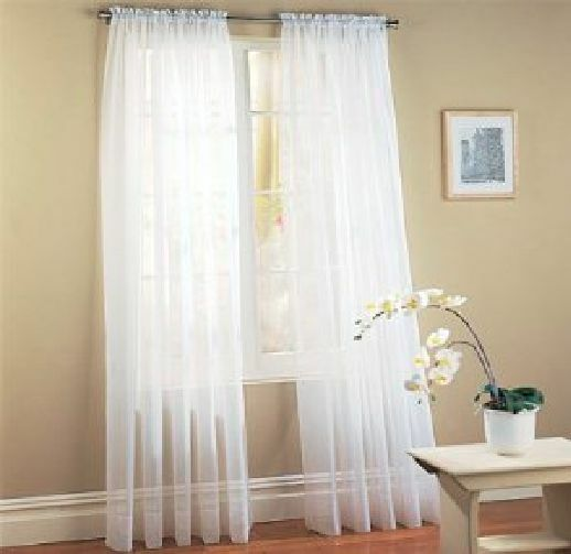 6 Panels White Sheer Voile Window Panel Solid Curtain 95 Length Ebay