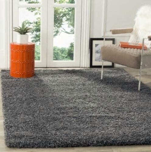 Solid Dark Gray Shag Area Rug Rugs 4 X 6 5 X 8 7 X 10 8 X