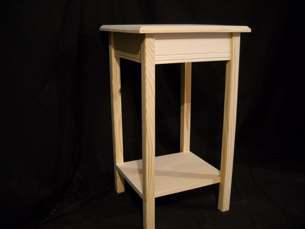 Unfinished wooden small dorm table night stand end table w for Small wood end table