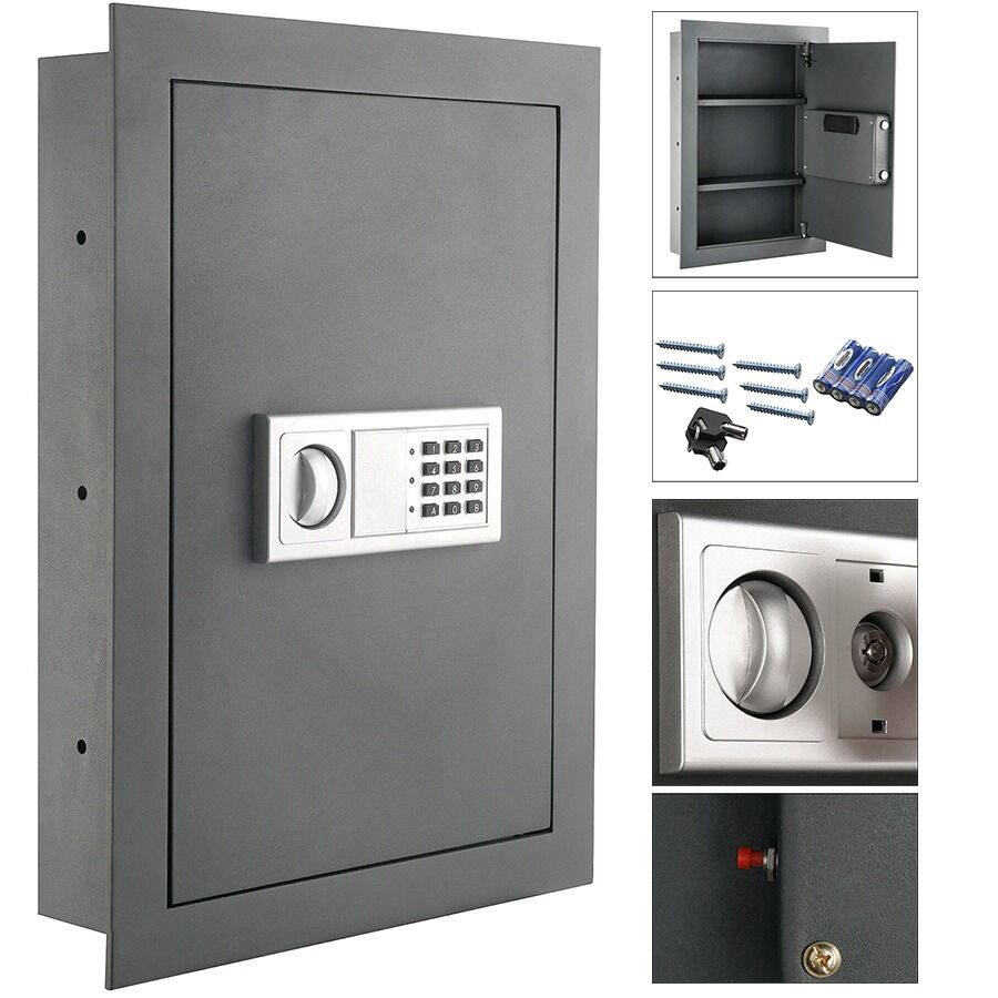 Black Electronic Digital Wall Hidden Safe Large Jewelry
