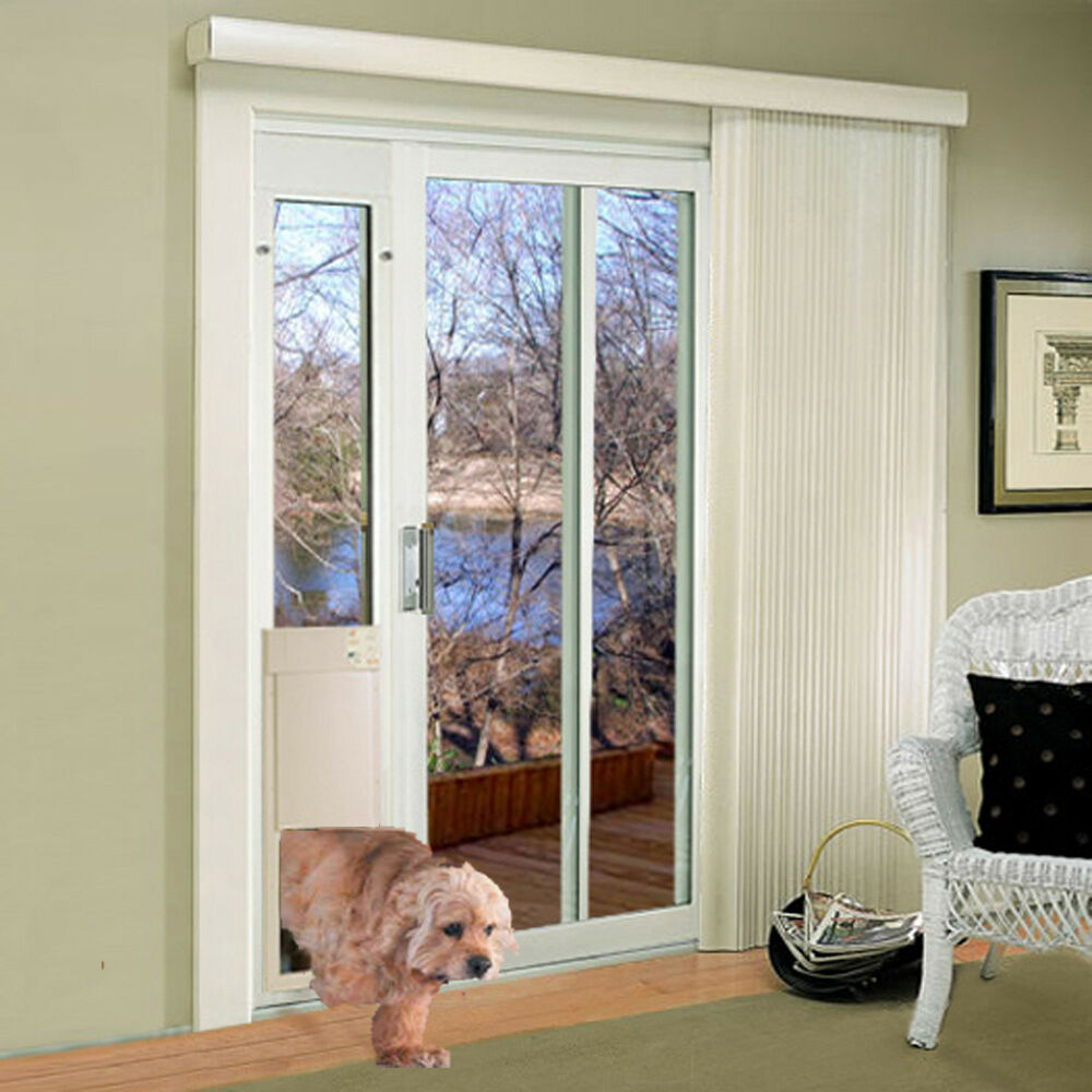 power pet med  automatic sldng glass pet door