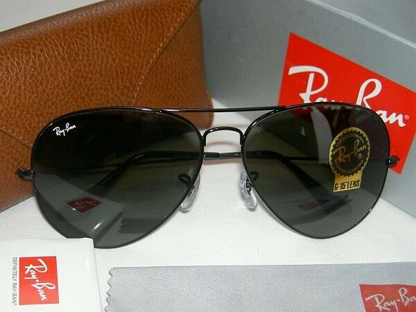 Ray Ban Glasses Large Frame : New RAY BAN Sunglasses AVIATOR Large Metal II Black Frame ...