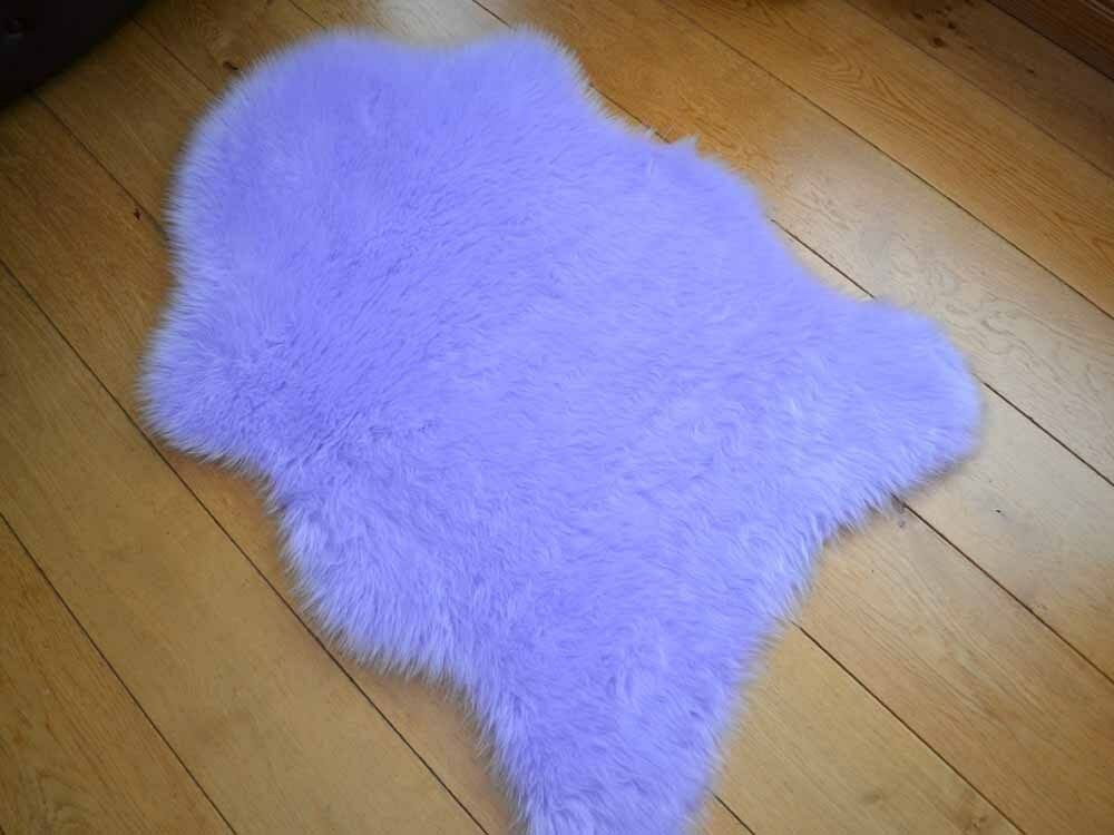 new bright lilac rugs fluffy bedroom faux fake hairy furry fur sheepskin mats ebay. Black Bedroom Furniture Sets. Home Design Ideas