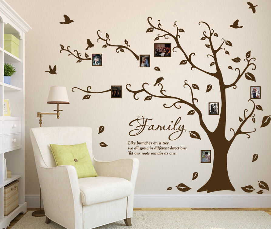 Family Photo Tree & Birds Art Vinyl Wall Sticker, DIY Wall