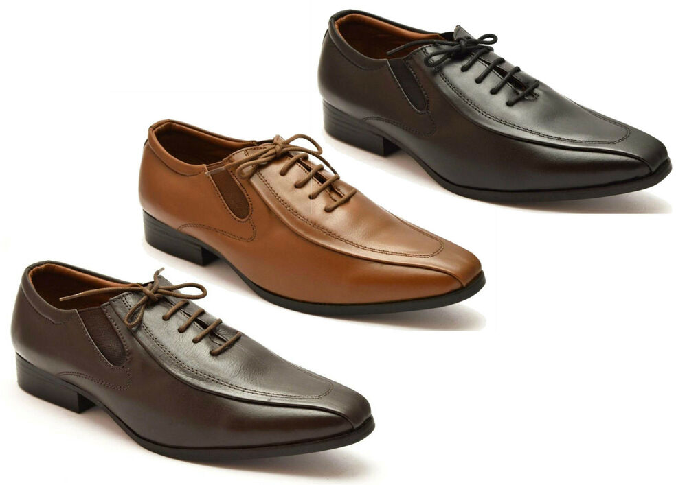 mens gents lace up leather shoes formal evening casual