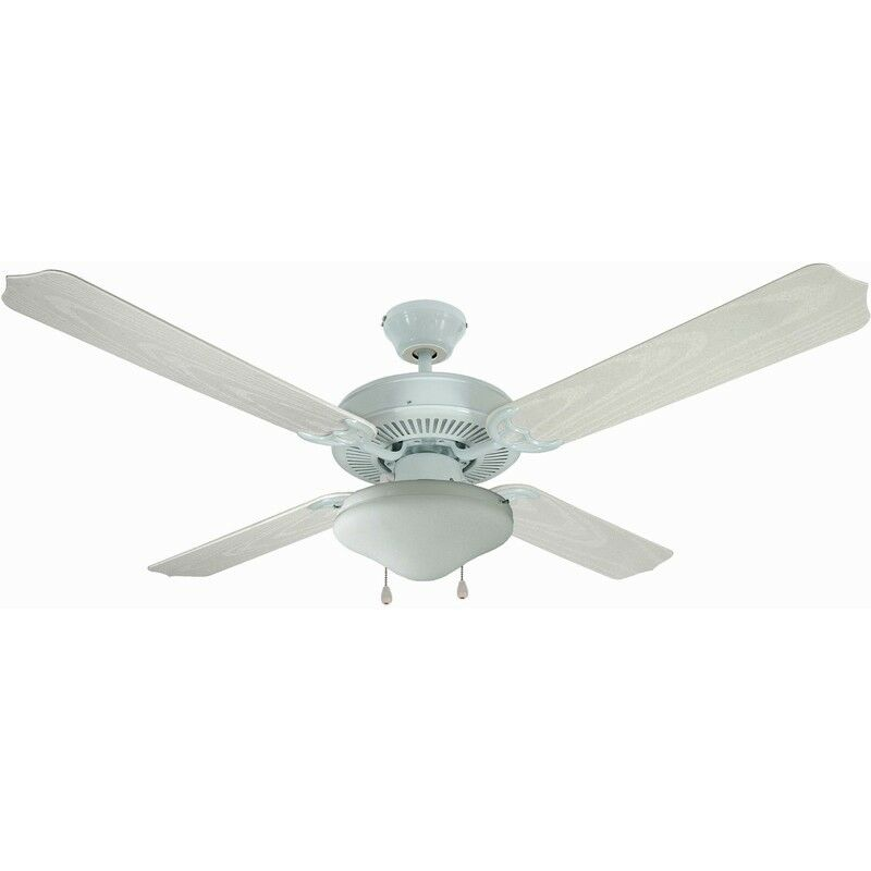 "White 52"" Hugger Ceiling Fan W/ Light Kit - #12-6977"