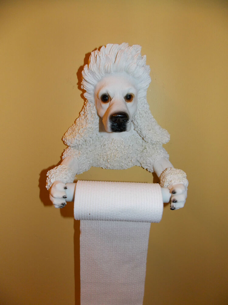 New Poodle Dog Puppy Bathroom Toilet Paper Holder Wall