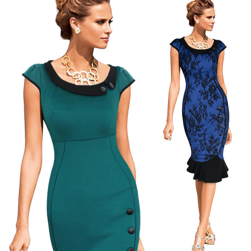 Mermaid Cocktail Dress: Womens Vintage Colorblock Cocktail Party Evening Bodycon
