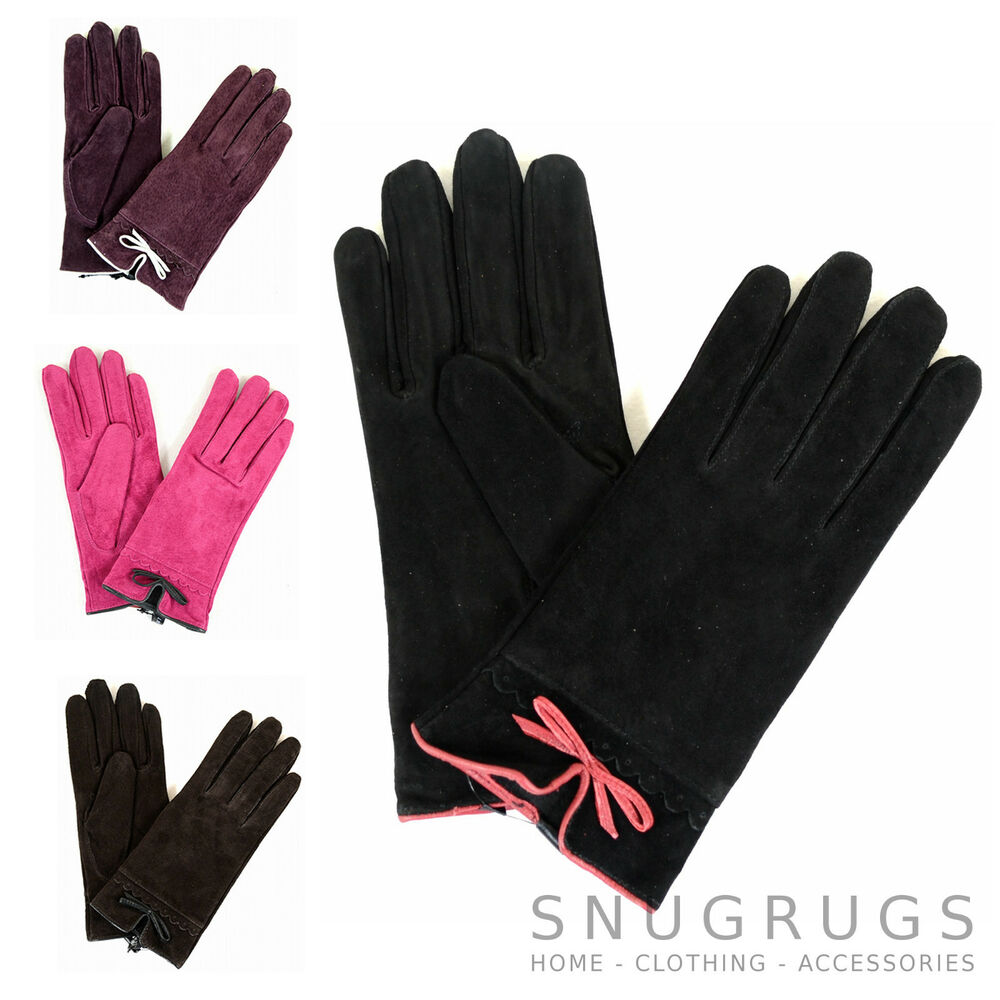 9a994abff Details about Ladies Suede Gloves with Fleece Lining and Bow Feature