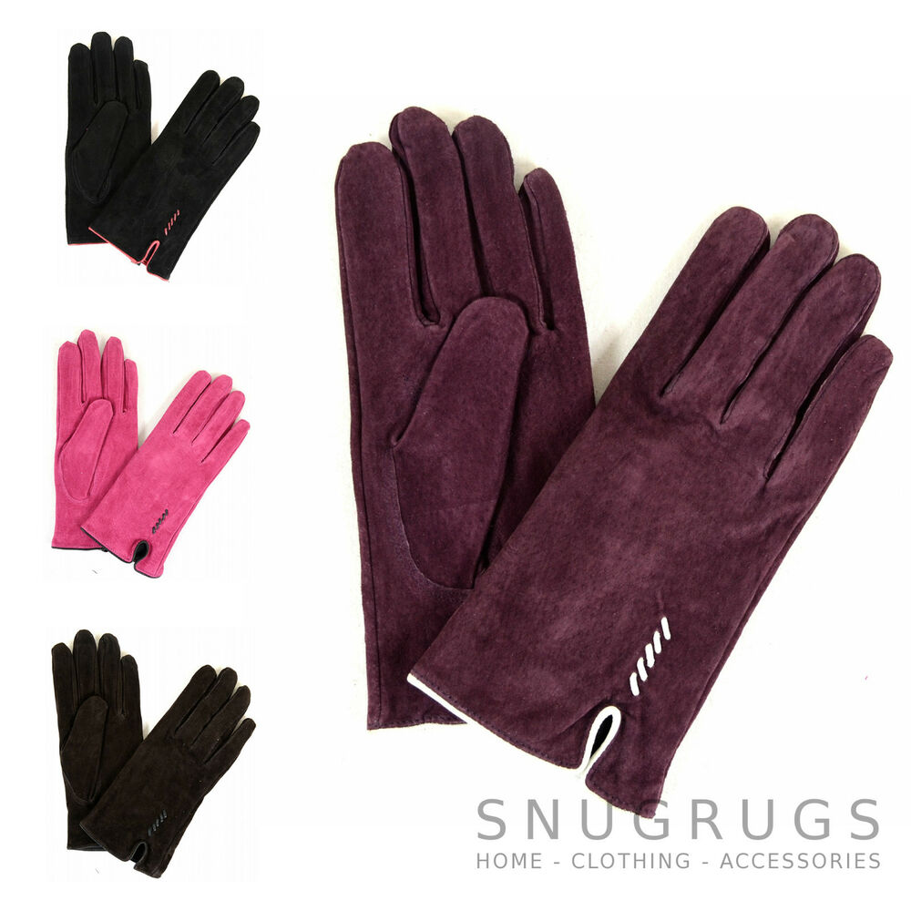 5720ecb86 Details about Ladies Suede Gloves with Fleece Lining and Stitch Detail