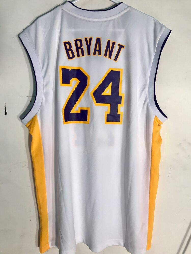 75ff01c1b604 Details about Adidas NBA Jersey LOS ANGELES Lakers Kobe Bryant White sz 3X