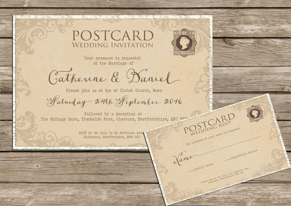 postcard wedding invitations personalised shabby chic vintage lace postcard wedding 6731