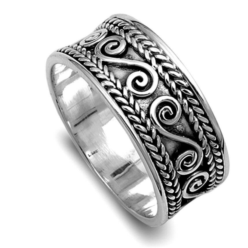 bali design rings sterling silver tribal wide band jewelry. Black Bedroom Furniture Sets. Home Design Ideas