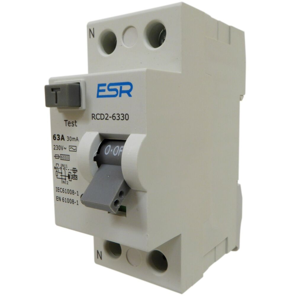 63 Or 80 Amp 30ma Rcd Rccb Trip Switch Double Pole Safety