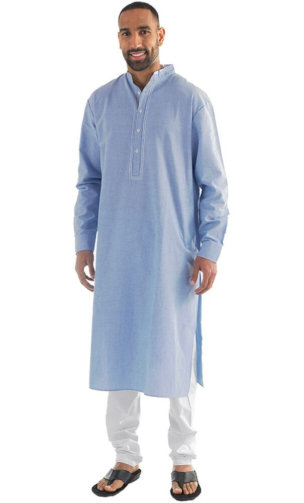 Nabeel Chambray Men's Kurta/ Mens long sleeve top, Mens ...