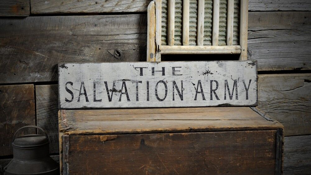 Distressed Salvation Army Sign Rustic Hand Made Vintage
