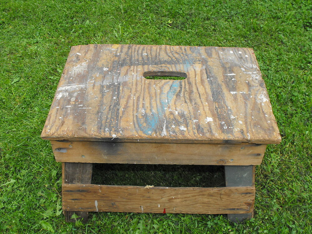 Old Original Wood Step Stool Painters Stand Garden Table Vtg Work Bench Decor Ebay