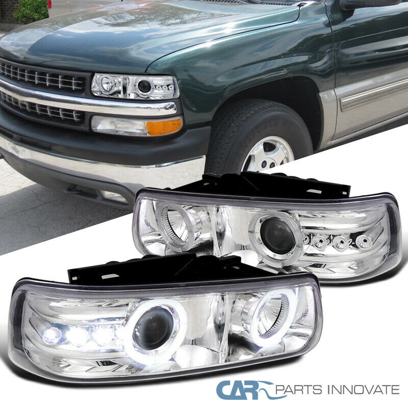 chevy silverado suburban tahoe smd led halo projector headlights l chrome ebay