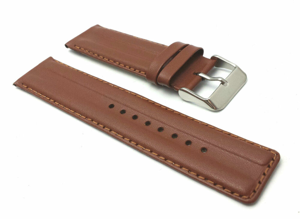 Genuine leather padded replacement watch strap band mens stainless steel buckle ebay for Men gradient leather strap