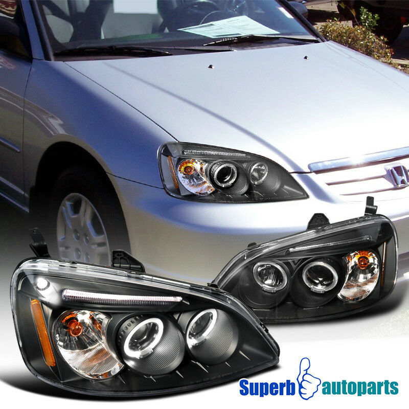 For 2001-2003 Honda Civic JDM Projector Headlights Head Lamps Black SpecD Tuning 684758596284 | eBay