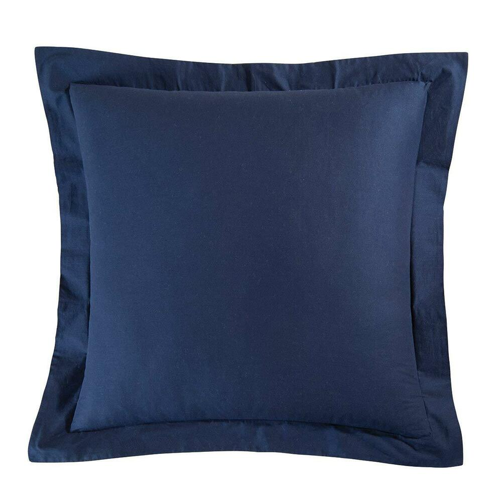 solid navy blue euro sham 100 cotton european pillow cover ebay. Black Bedroom Furniture Sets. Home Design Ideas