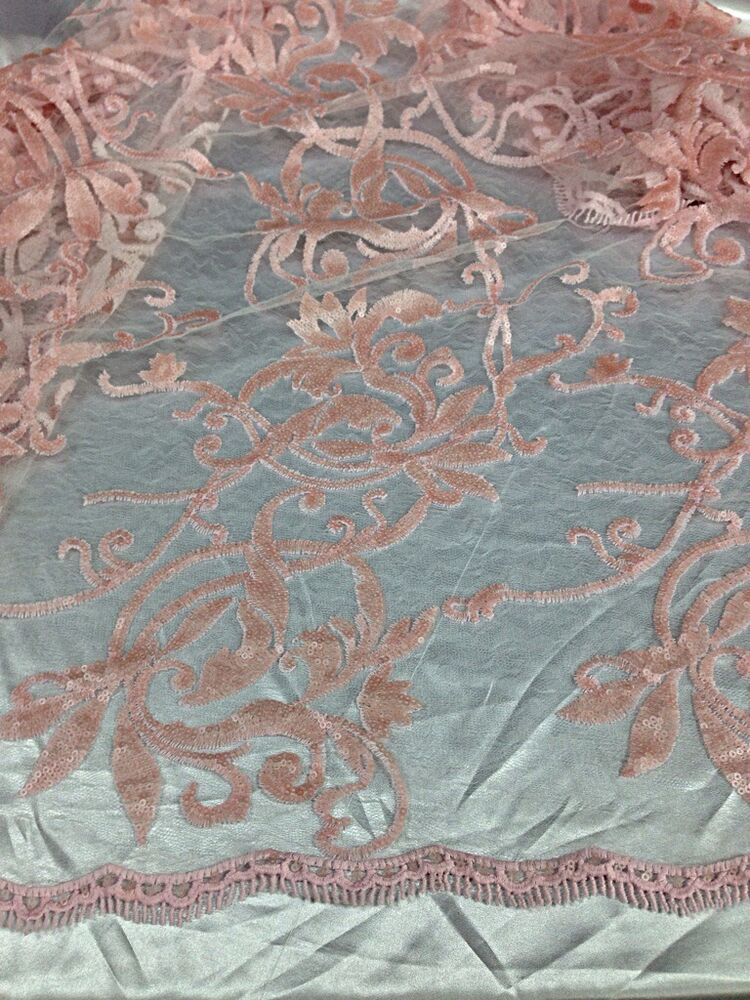 Baby pink mesh w embroidery sequins lace fabric quot wide