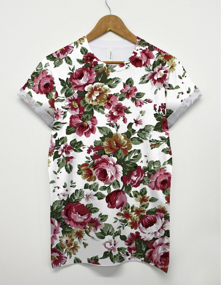 floral pattern t shirt rose flower festival all over print top men women unisex