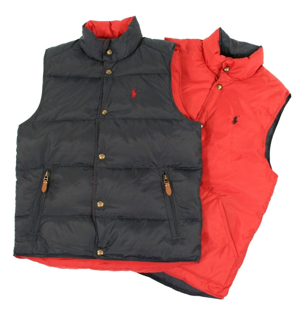 Ralph Lauren Polo Navy Red Reversible Down Puffer Vest ...