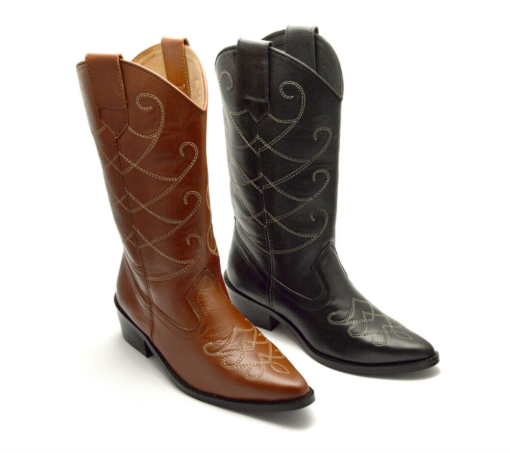 womens cowboy boots leather western cuban
