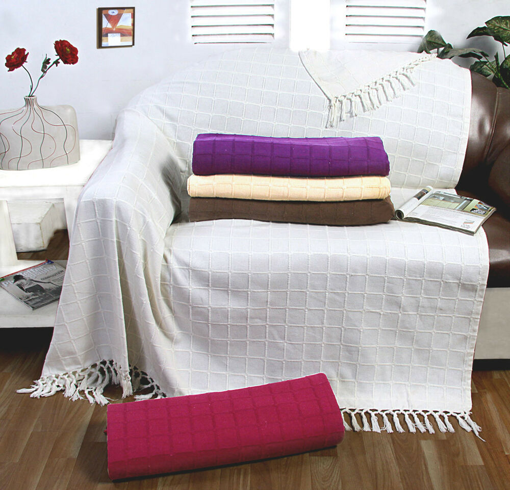 100% Cotton Large Sofa Throw / Cover Luxury Heavy Quality