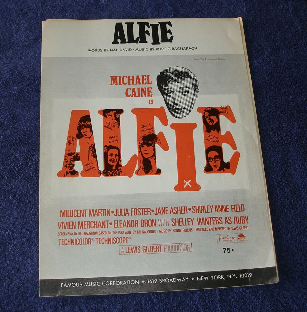 Alfie 1966 Sheet Music Michael Caine Jane Asher Bacharach
