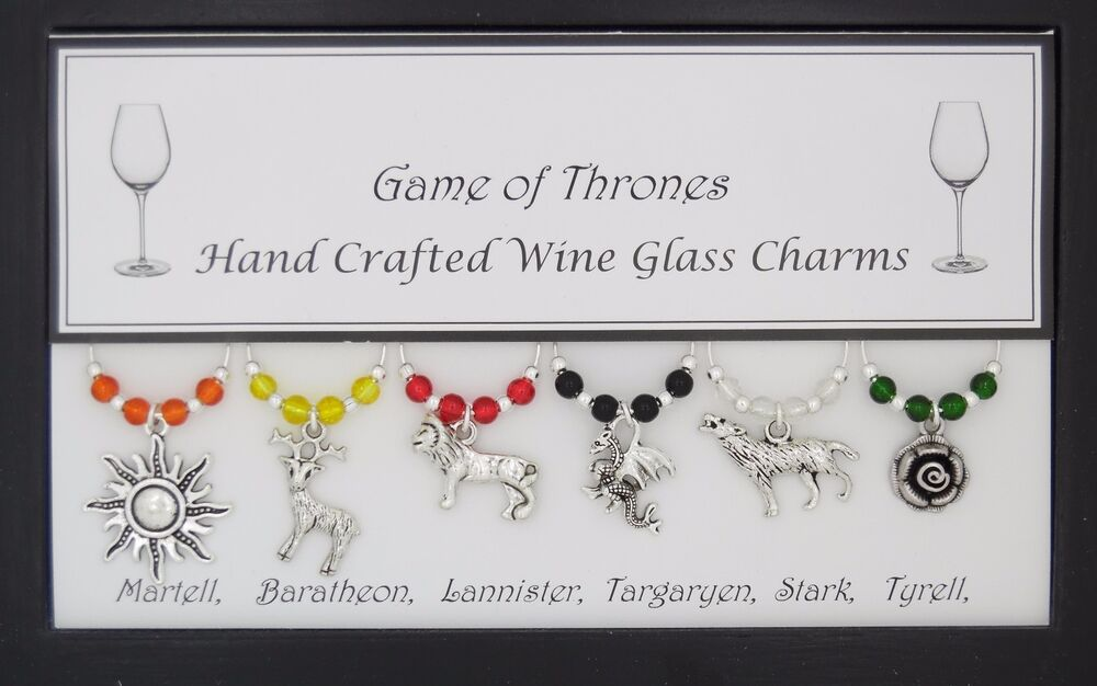 game of thrones 6 house set of wine glass charms birthday