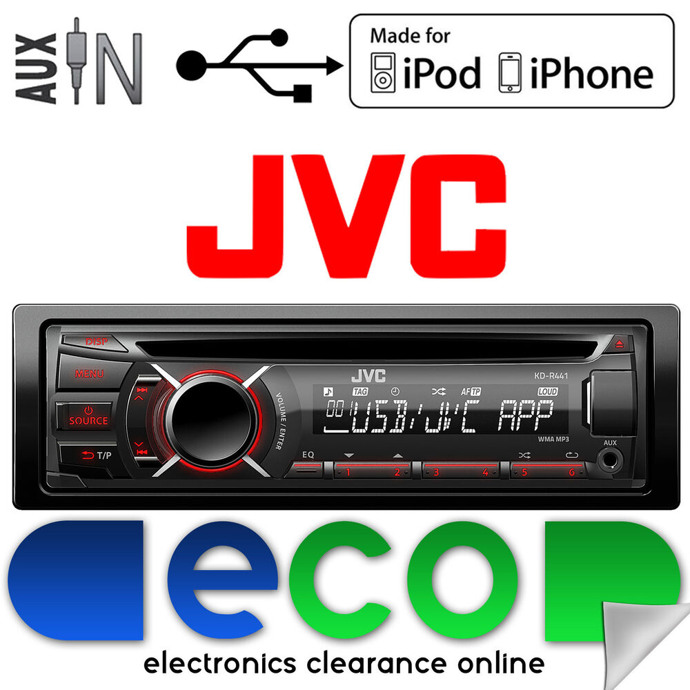 jvc cd mp3 aux in usb car stereo radio ipod 39 s iphone. Black Bedroom Furniture Sets. Home Design Ideas