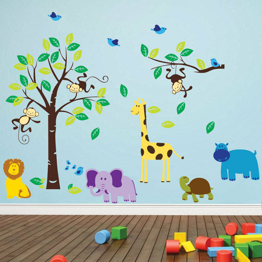 monkey tree birds wall stickers jungle animal nursery cute fox wall decal kids vinyl sticker ebay